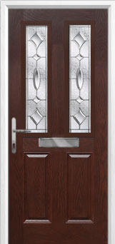 2 Panel 2 Square Zinc/Brass Art Clarity Composite Front Door in Darkwood