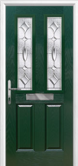 2 Panel 2 Square Zinc/Brass Art Clarity Composite Front Door in Green
