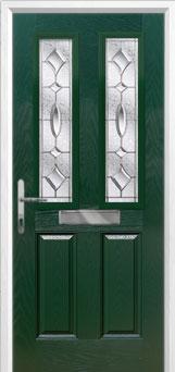 2 Panel 2 Square Zinc/Brass Art Clarity Composite Front Door in Green