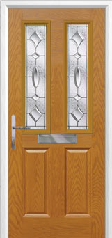 2 Panel 2 Square Zinc/Brass Art Clarity Composite Front Door in Oak