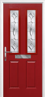 2 Panel 2 Square Zinc/Brass Art Clarity Composite Front Door in Red