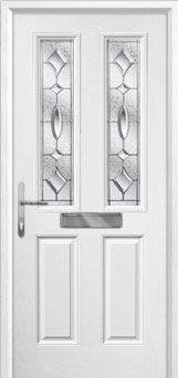 2 Panel 2 Square Zinc/Brass Art Clarity Composite Front Door in White