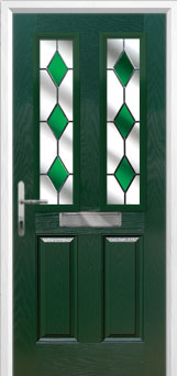 2 Panel 2 Square Drop Diamond Composite Front Door in Green