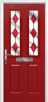 2 Panel 2 Square Drop Diamond Composite Front Door in Red