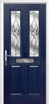 2 Panel 2 Square Elegance Composite Front Door in Blue