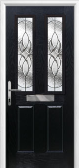 2 Panel 2 Square Elegance Composite Front Door in Black