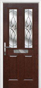 2 Panel 2 Square Elegance Composite Front Door in Darkwood
