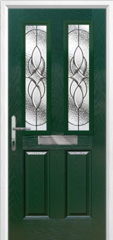 2 Panel 2 Square Elegance Composite Front Door in Green