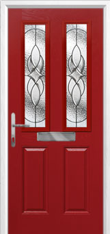 2 Panel 2 Square Elegance Composite Front Door in Red