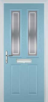 2 Panel 2 Square Enfield Composite Front Door in Duck Egg Blue