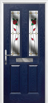 2 Panel 2 Square English Rose Composite Front Door in Blue