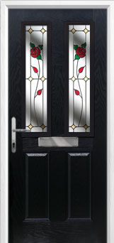 2 Panel 2 Square English Rose Composite Front Door in Black