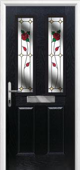 2 Panel 2 Square English Rose Composite Front Door in Black