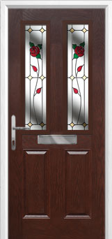 2 Panel 2 Square English Rose Composite Front Door in Darkwood