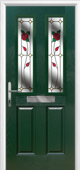 2 Panel 2 Square English Rose Composite Front Door in Green