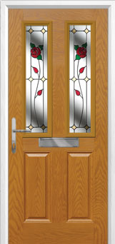 2 Panel 2 Square English Rose Composite Front Door in Oak
