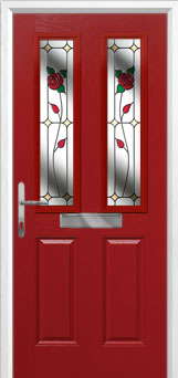 2 Panel 2 Square English Rose Composite Front Door in Red