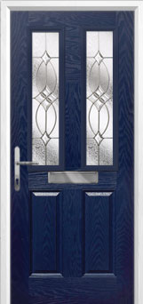 2 Panel 2 Square Flair Composite Front Door in Blue