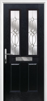 2 Panel 2 Square Flair Composite Front Door in Black