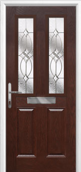 2 Panel 2 Square Flair Composite Front Door in Darkwood