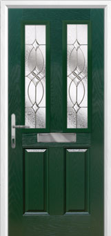 2 Panel 2 Square Flair Composite Front Door in Green
