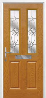 2 Panel 2 Square Flair Composite Front Door in Oak