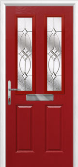 2 Panel 2 Square Flair Composite Front Door in Red