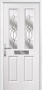2 Panel 2 Square Flair Composite Front Door in White