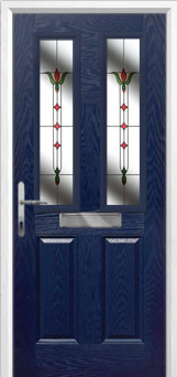 2 Panel 2 Square Fleur Composite Front Door in Blue