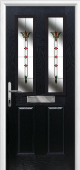 2 Panel 2 Square Fleur Composite Front Door in Black