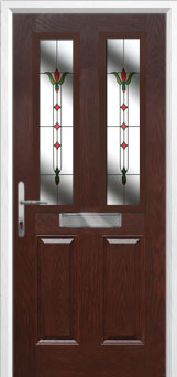 2 Panel 2 Square Fleur Composite Front Door in Darkwood