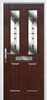 2 Panel 2 Square Fleur Composite Front Door in Darkwood