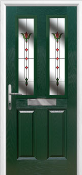 2 Panel 2 Square Fleur Composite Front Door in Green