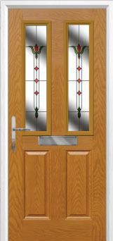 2 Panel 2 Square Fleur Composite Front Door in Oak