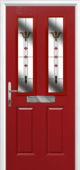 2 Panel 2 Square Fleur Composite Front Door in Red