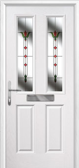 2 Panel 2 Square Fleur Composite Front Door in White