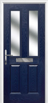 2 Panel 2 Square Glazed Composite Front Door in Blue