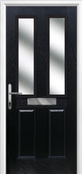 2 Panel 2 Square Glazed Composite Front Door in Black