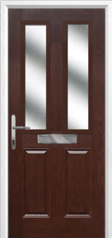 2 Panel 2 Square Glazed Composite Front Door in Darkwood