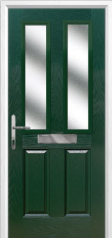 2 Panel 2 Square Glazed Composite Front Door in Green