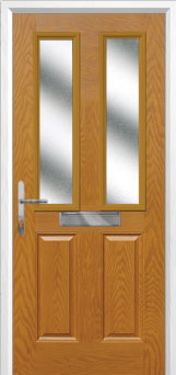 2 Panel 2 Square Glazed Composite Front Door in Oak