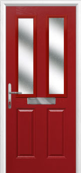 2 Panel 2 Square Glazed Composite Front Door in Red