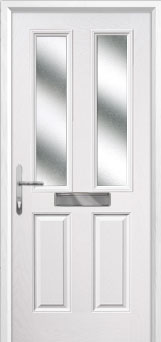 2 Panel 2 Square Glazed Composite Front Door in White