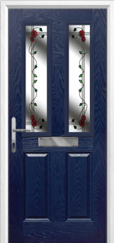 2 Panel 2 Square Mackintosh Rose Composite Front Door in Blue