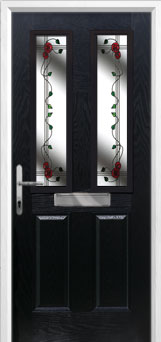 2 Panel 2 Square Mackintosh Rose Composite Front Door in Black