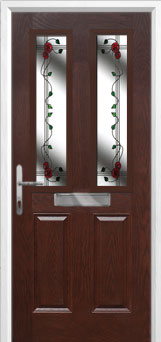 2 Panel 2 Square Mackintosh Rose Composite Front Door in Darkwood