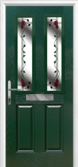 2 Panel 2 Square Mackintosh Rose Composite Front Door in Green