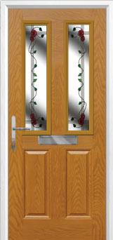 2 Panel 2 Square Mackintosh Rose Composite Front Door in Oak
