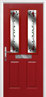 2 Panel 2 Square Mackintosh Rose Composite Front Door in Red