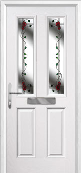 2 Panel 2 Square Mackintosh Rose Composite Front Door in White
